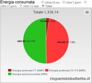 Energia totale consumata dalla famiglia dell'esempio dal momento in cui p stato installato l'impianto fotovoltaico (allaccio 11/14)