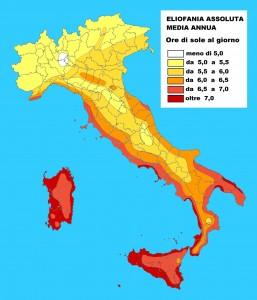 media ore di sole in Italia