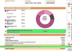 Un esempio di come sarà la bolletta che riceverete a fine luglio 2016 con inclusi i 70 euro di canone Rai da pagare
