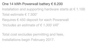 Il costo del powerwall 2 di Tesla come pubblicizzato sul sito ufficiale. Vedremo in primavera quanto incideranno extra e tasse rispetto al prezzo base.